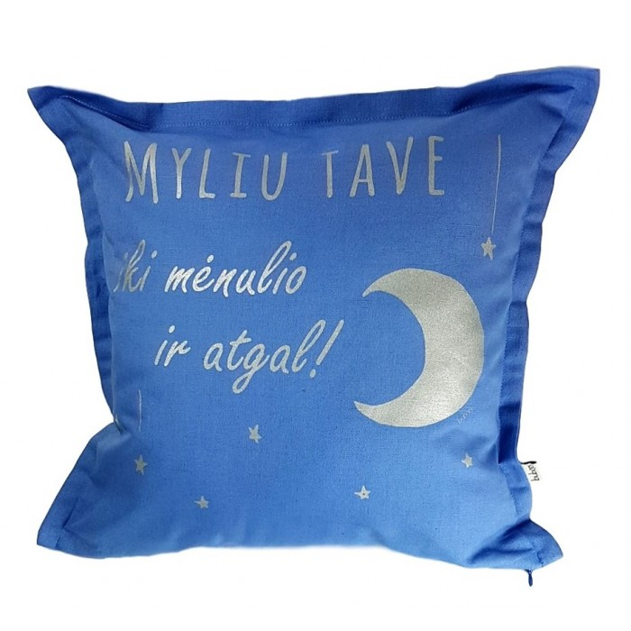 Mėlyna dekoratyvinė pagalvėlė BUBOO Myliu tave, 45 x 45 cm
