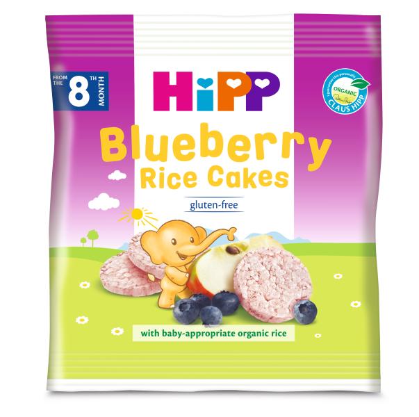Ekologiški ryžių ir mėlynių paplotėliai HIPP (nuo 8 mėn.), 30 g