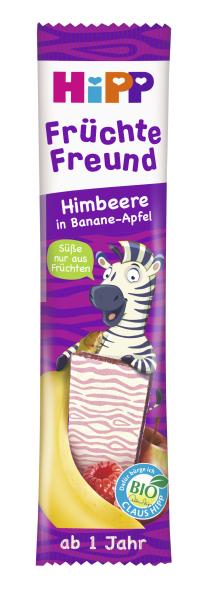 Ekologiškas bananų, obuolių ir aviečių sulčių batonėlis HIPP (nuo 1m.), 23 g