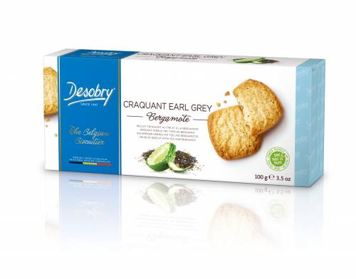 Belgiški sausainiai DESOBRY su arbata ir bergamote, 100g