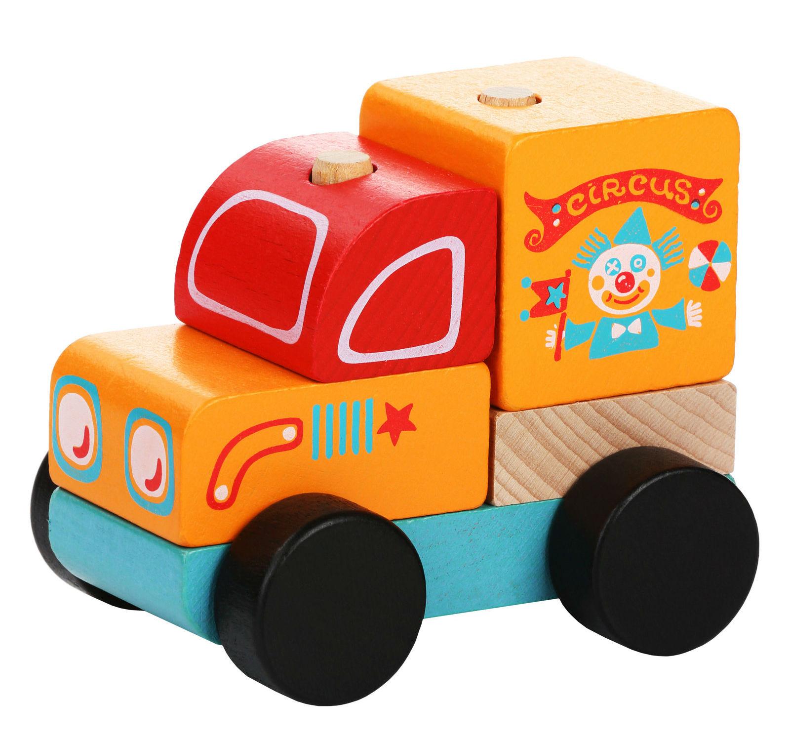 Medinių kaladėlių rinkinys CUBIKA Cirko mašinėlė vaikams nuo 1,5 metų (13166)