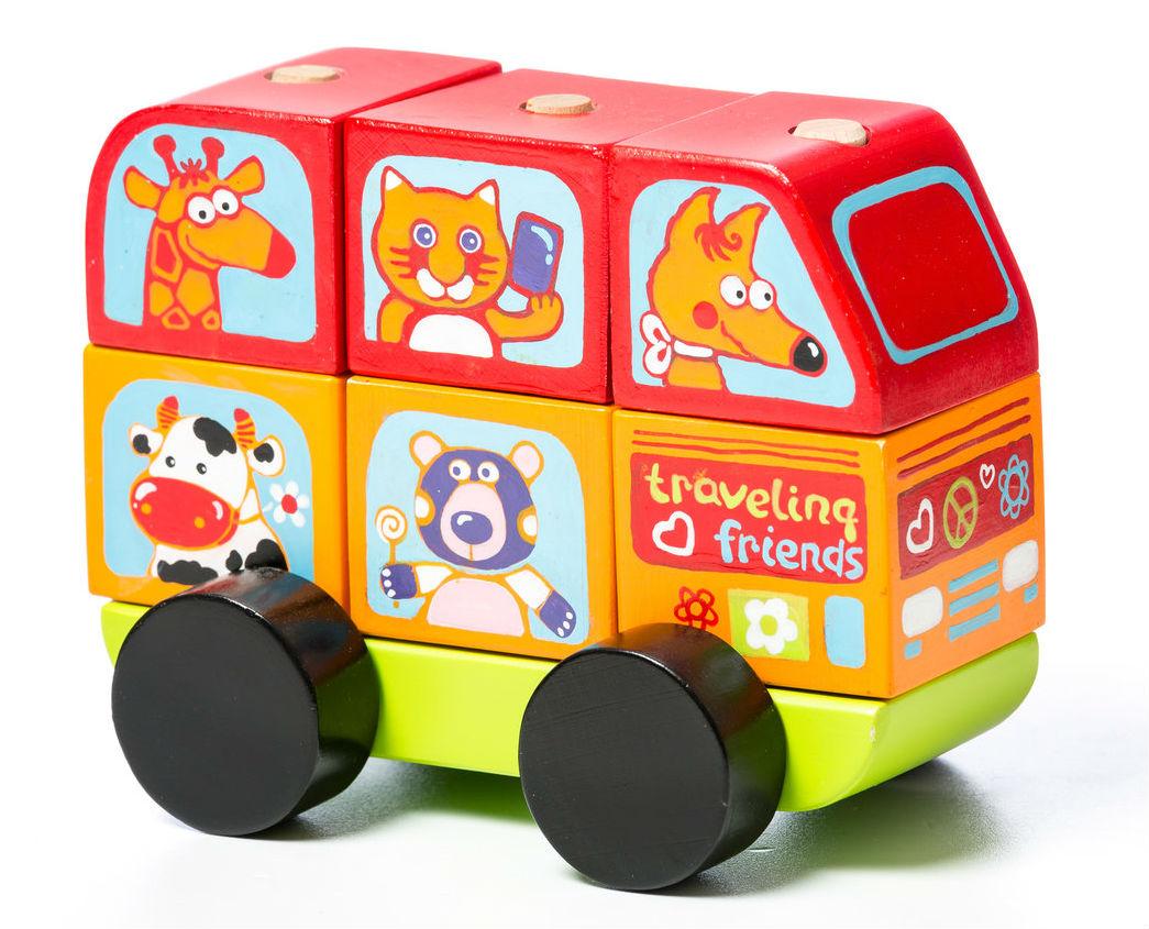 Medinių kaladėlių rinkinys CUBIKA Autobusiukas, linksmieji žvėreliai vaikams nuo 1,5 metų (13197)