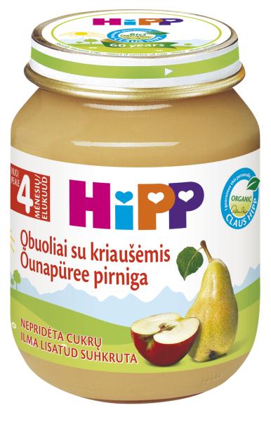 Ekologiška obuolių ir kriaušių tyrelė HIPP (nuo 4 mėn.), 125 g