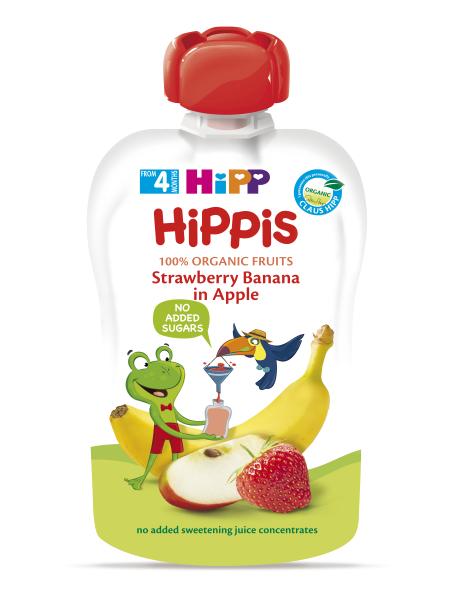Ekologiška obuolių, braškių ir bananų tyrelė HIPP (nuo 4 mėn.), 100 g