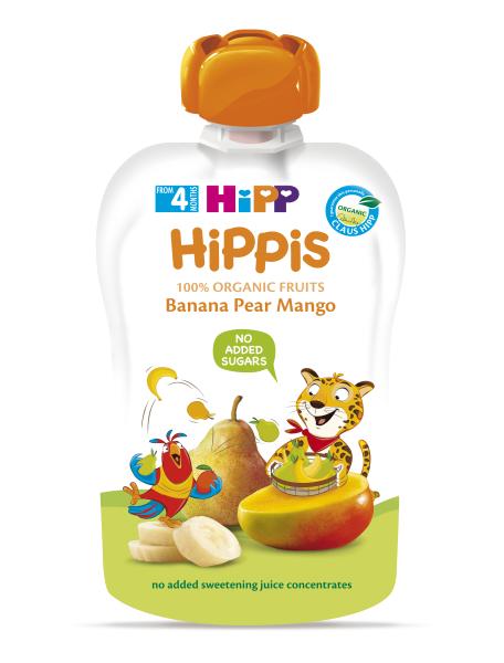 Ekologiška bananų, kriaušių, mango tyrelė HIPP (nuo 4 mėn.), 100 g