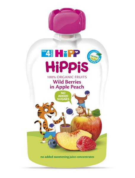 Ekologiška obuolių ir persikų tyrelė su miško uogom HIPP (nuo 4 mėn.), 100 g