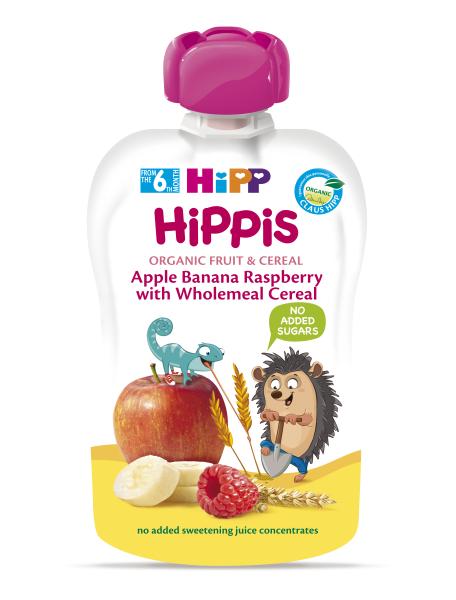 Ekologiška obuolių, bananų, aviečių tyrelė su grūdais HIPP (nuo 6 mėn.), 100 g