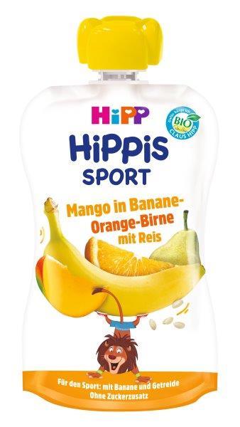 Ekologiška bananų, apelsinų, kriaušių ir mango tyrelė su ryžiais HIPP SPORT (nuo 1 metų), 120 ml