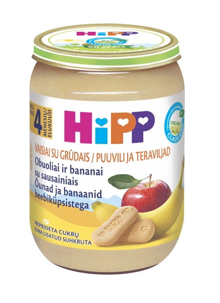 Ekologiška obuolių ir bananų tyrelė HIPP su sausainiais (nuo 4 mėn.), 190 g