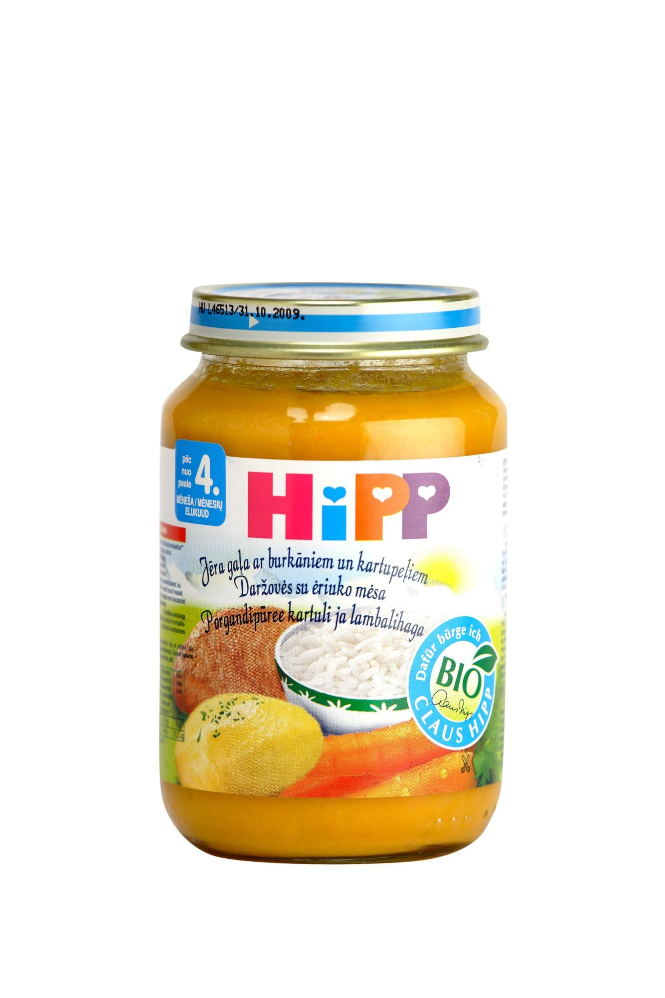 Ekologiška morkų ir bulvių tyrelė HIPP su ėriena (nuo 4 mėn.), 190 g