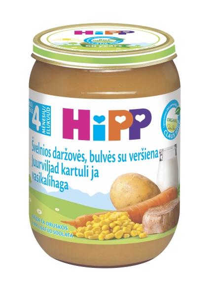 Ekologiška daržovių tyrelė HIPP su veršiena (nuo 4 mėn.), 190 g
