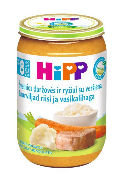 Ekologiška daržovių tyrelė HIPP su veršiena (nuo 8 mėn.), 220 g
