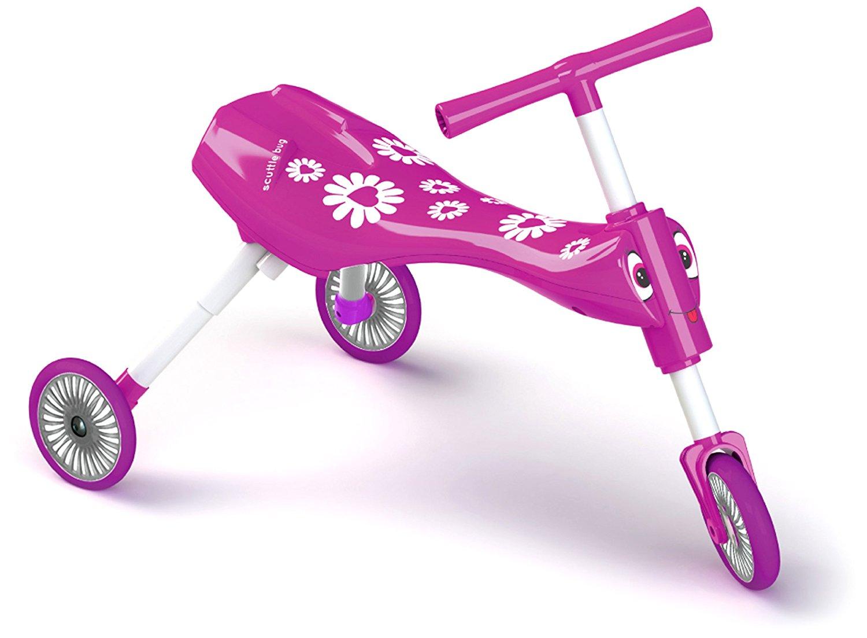 Rožinispaspirtukas/triratukas SCUTTLEBUG Fleur 1-3 metų vaikams