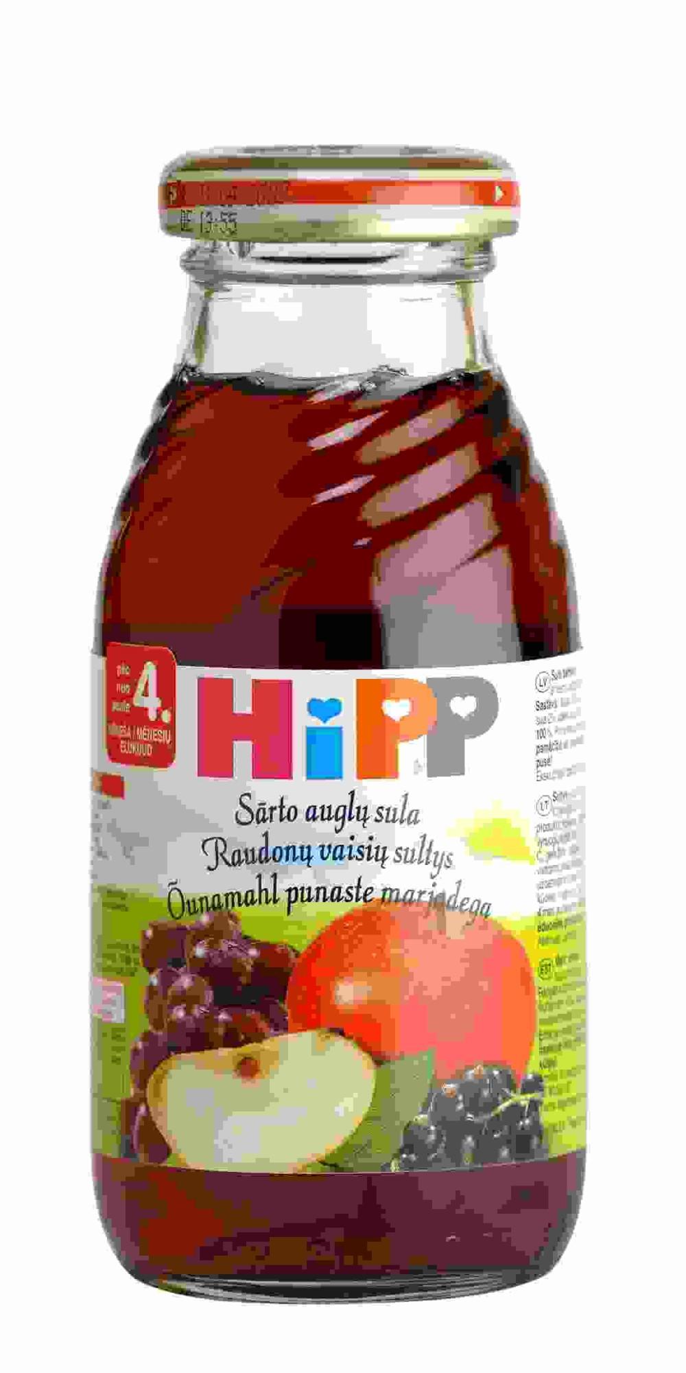 Ekologiškos raudonųjų vaisių sultys HIPP (nuo 4 mėn.), 200 ml