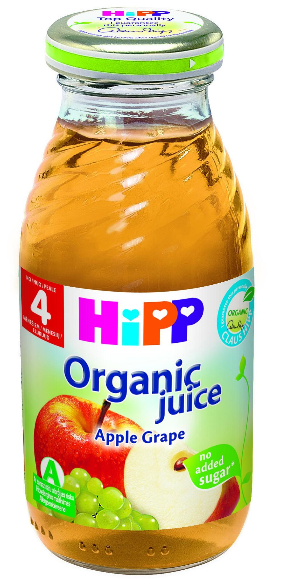 Ekologiškos obuolių ir vynuogių sultys HIPP (nuo 4 mėn.), 200 ml