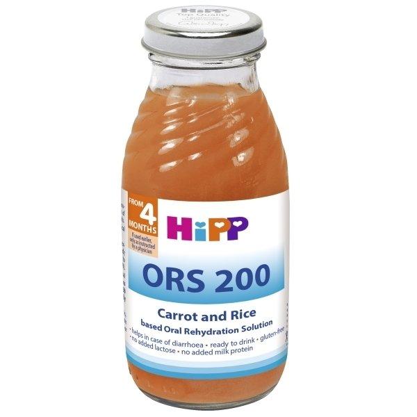 """Paruoštas vartoti morkų ir ryžių nuoviras su elektrolitais """"HiPP ORS 200"""" (nuo 4 mėn.), 200 ml"""