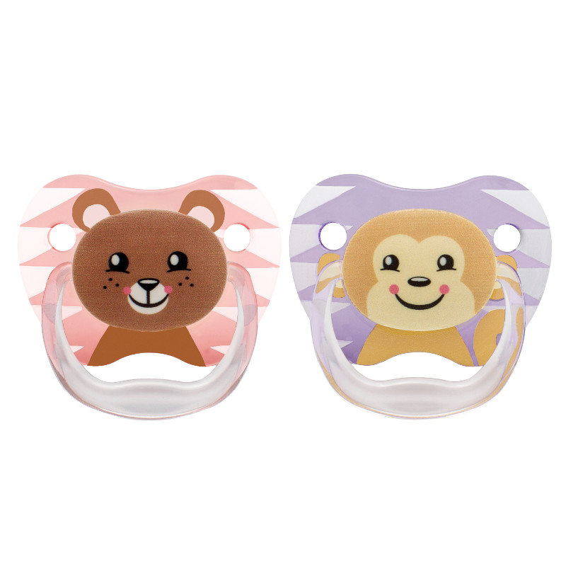 Čiulptukai PreVent DR.BROWN'S Bear&Monkey nuo 6-12 mėn., 2 vnt., mergaitėms