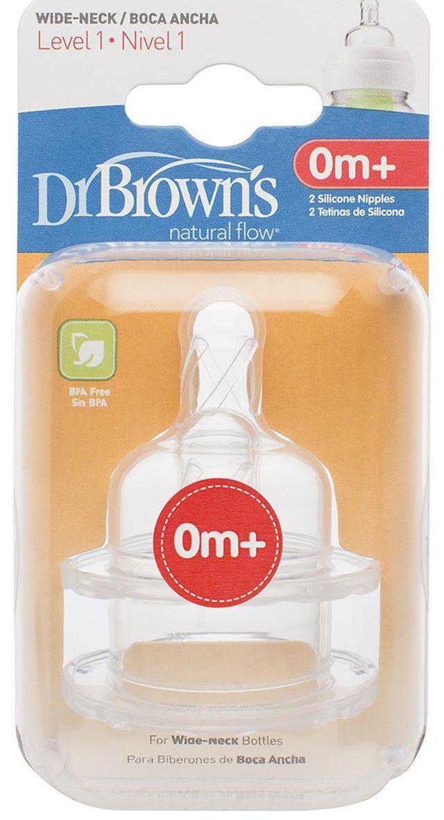I lygio žindukai plataus kaklelio buteliukams DR.BROWN'S nuo 0 iki 3 mėn., 2 vnt.