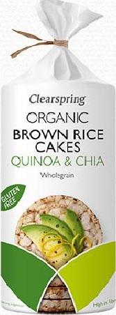 Ekologiški rudųjų ryžių trapučiai su bolivine balanda ir chia sėklomis CLEARSPRING, 120g