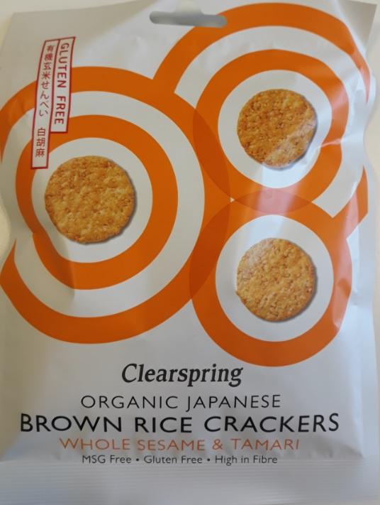 Ekologiški rudųjų ryžių krekeriai su sezamo sėklomis ir skrudintomis sojų pupelėmis CLEARSPRING, 40g