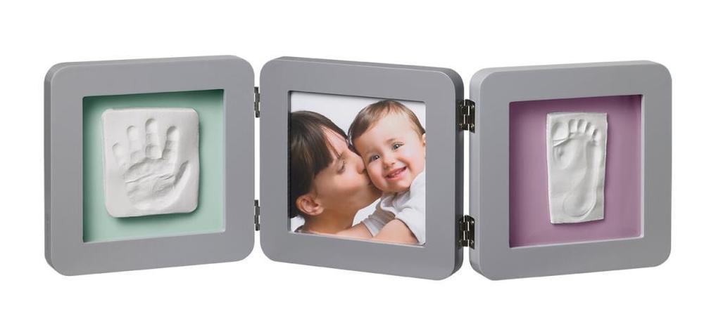 Pilkas tigubas kvadratinis rėmelis BABY ART su įspaudais