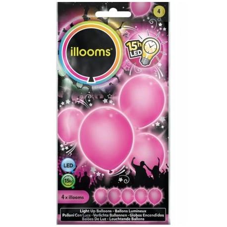 Šviečiantys balionai ILLOOMS su LED diodu vaikams nuo 3 metų, 4 vnt. (ILL80003)