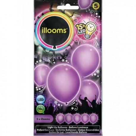 Šviečiantys balionai ILLOOMS su LED diodu vaikams nuo 3 metų, 4 vnt. (ILL80004)