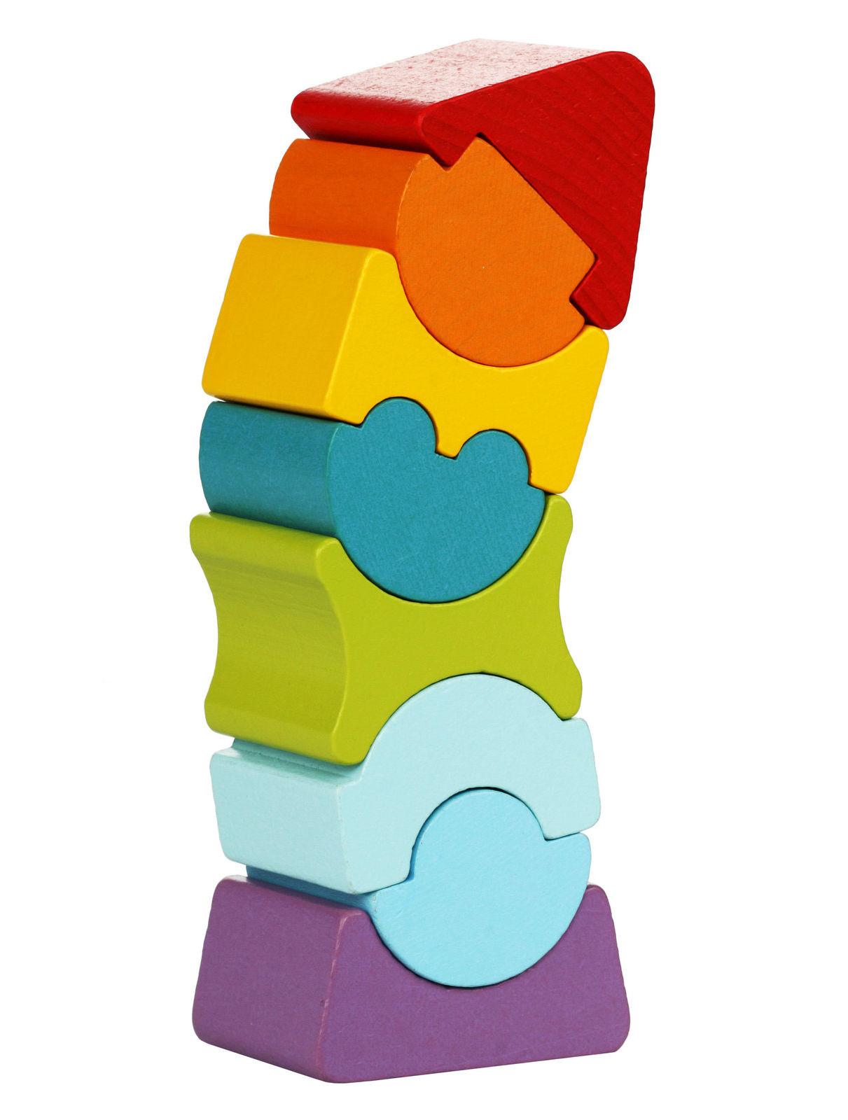 Medinių kaladėlių rinkinys CUBIKA Lankstusis bokštas 8 vaikams nuo 2 metų (12718)