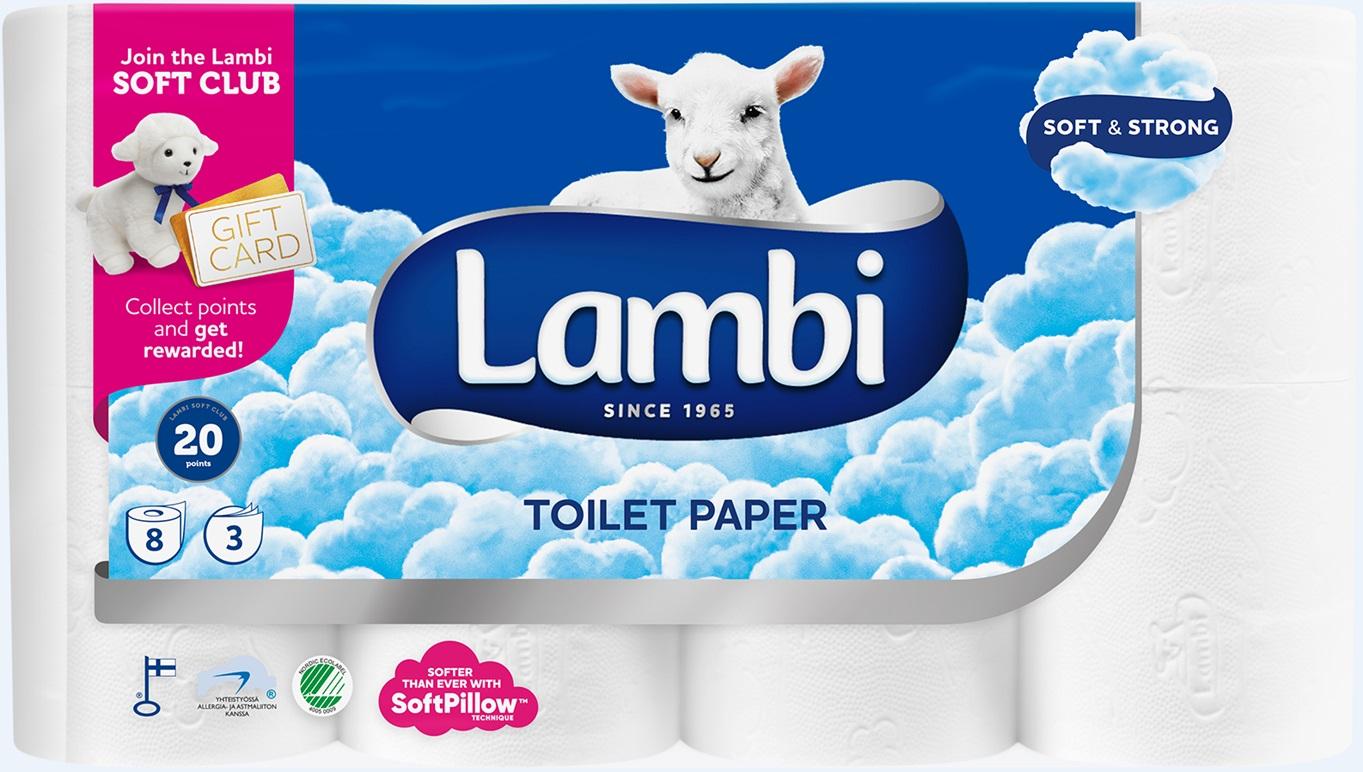 Lambi tualetinis popierius, 3 sl, 8 rit.