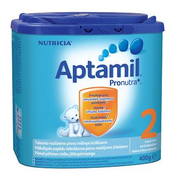 Pieno mišinys APTAMIL 2 Pronutra 6-12 mėn. kūdikiams, 400 g