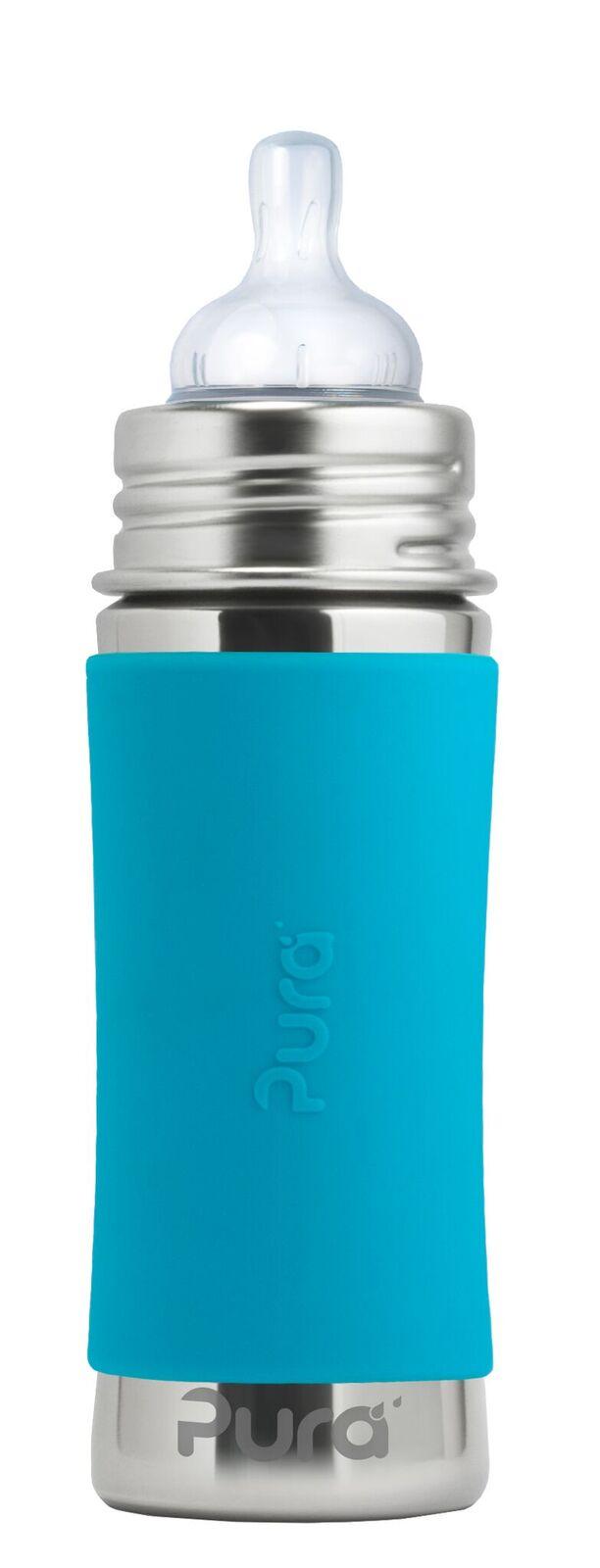 Mėlynas buteliukas PURA KIKI su žinduku kūdikiams nuo 3 mėn., 325 ml