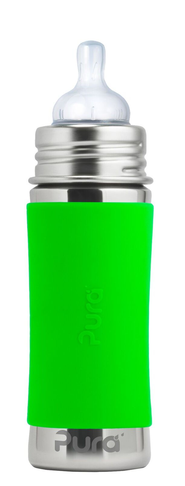 Žalias buteliukas PURA KIKI su žinduku kūdikiams nuo 3 mėn., 325 ml