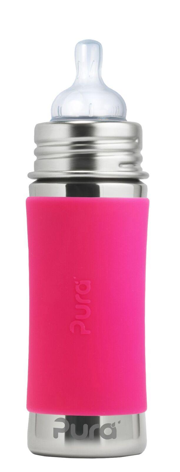 Rožinis buteliukas PURA KIKI su žinduku kūdikiams nuo 3 mėn., 325 ml