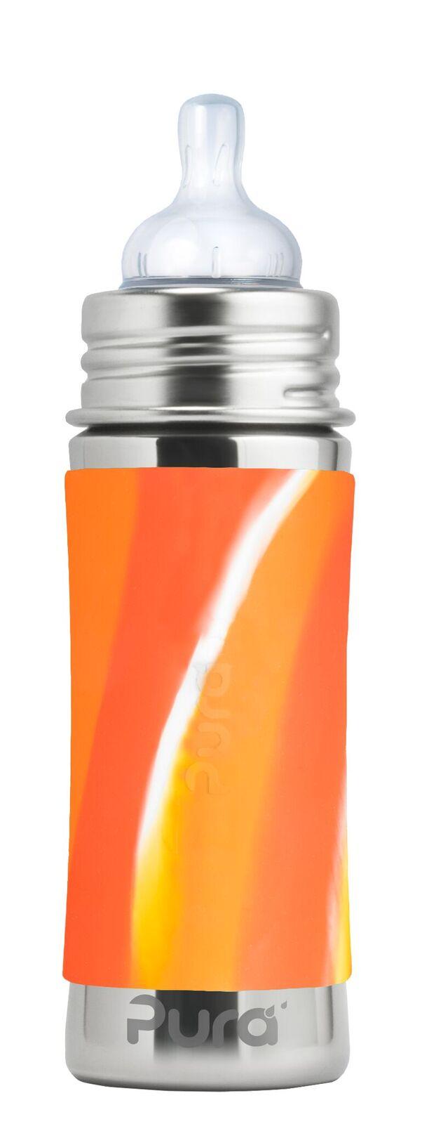 Margas oranžinis buteliukas PURA KIKI su žinduku kūdikiams nuo 3 mėn., 325 ml