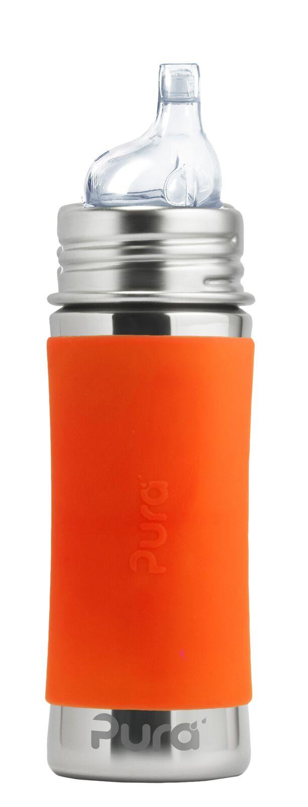 Oranžinis buteliukas PURA KIKI su snapeliu kūdkiams nuo 6 mėn, 325 ml