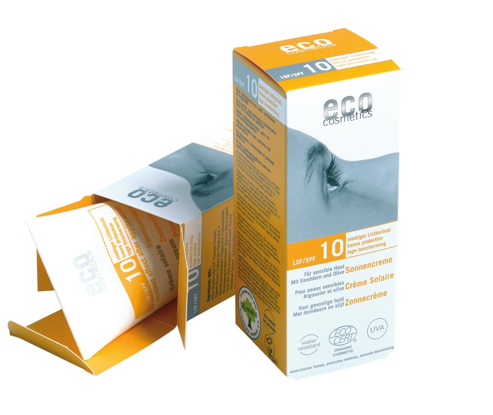 Ekologiškas kremas nuo saulės SPF10 su šaltalankiais ir alyvuogėmis ECO COSMETICS, 75 ml.