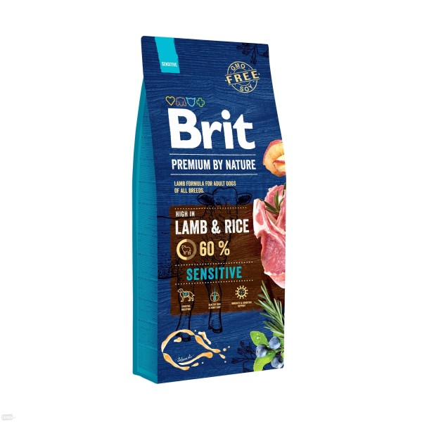 BRIT PREMIUM By Nature sensitive lamb & rice Visavertis hipoalerginis pašaras jautriems, alergiškiems šunims, 3 kg