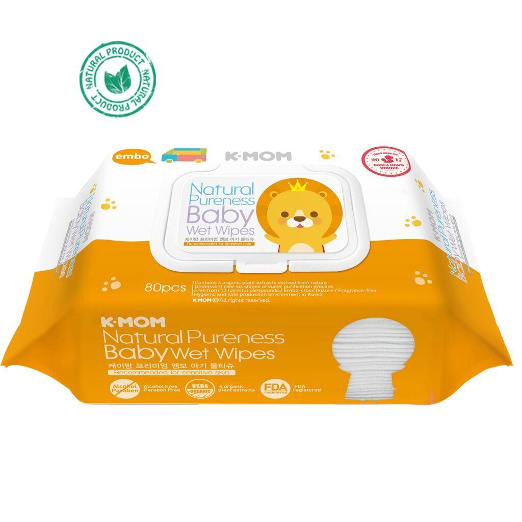 Drėgnos servetėlės su dangteliu K-MOM premium, 80vnt