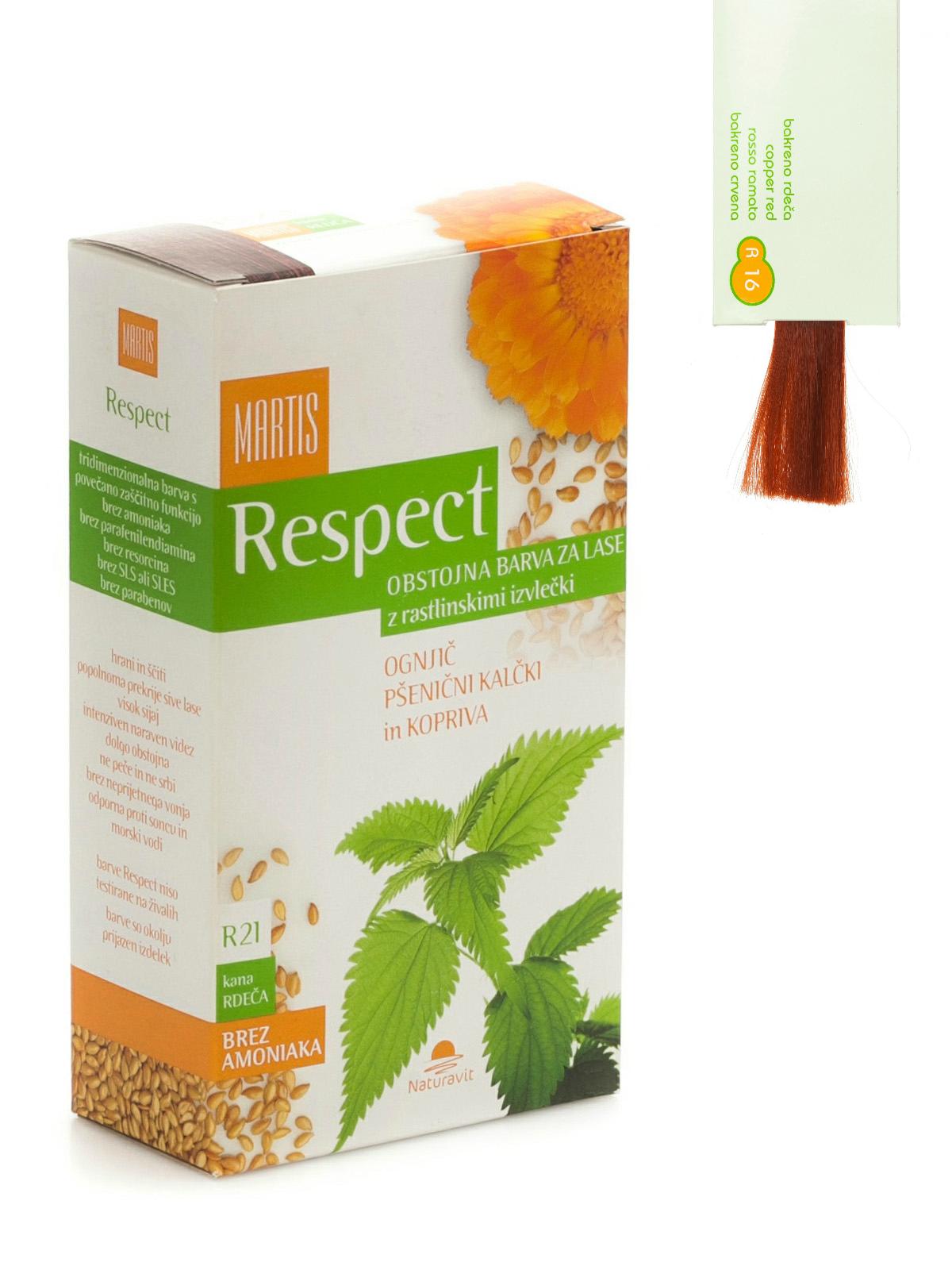 """lgalaikiai plaukų dažai MARTIS RESPECT su augaliniais ekstraktais """"Varinė su raudonu atspalviu""""  Nr.16, 135ml"""