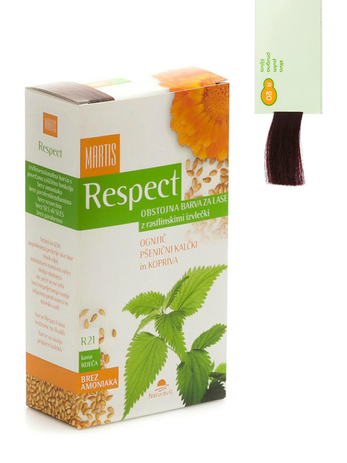 """Ilgalaikiai plaukų dažai MARTIS RESPECT su augaliniais ekstraktais  """"Slyvinė"""" Nr.20, 135ml"""