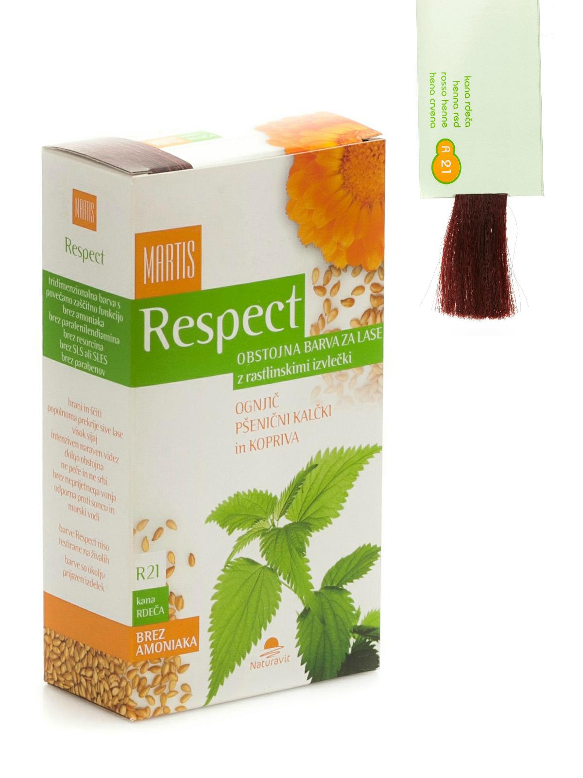 """Ilgalaikiai plaukų dažai MARTIS RESPECT su augaliniais ekstraktais  """"Chna su raudonu atspalviu"""" Nr.21, 135ml"""