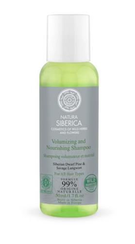 Maitinantis ir suteikiantis apimties šampūnas Natura Siberica visų tipų plaukams, 50 ml