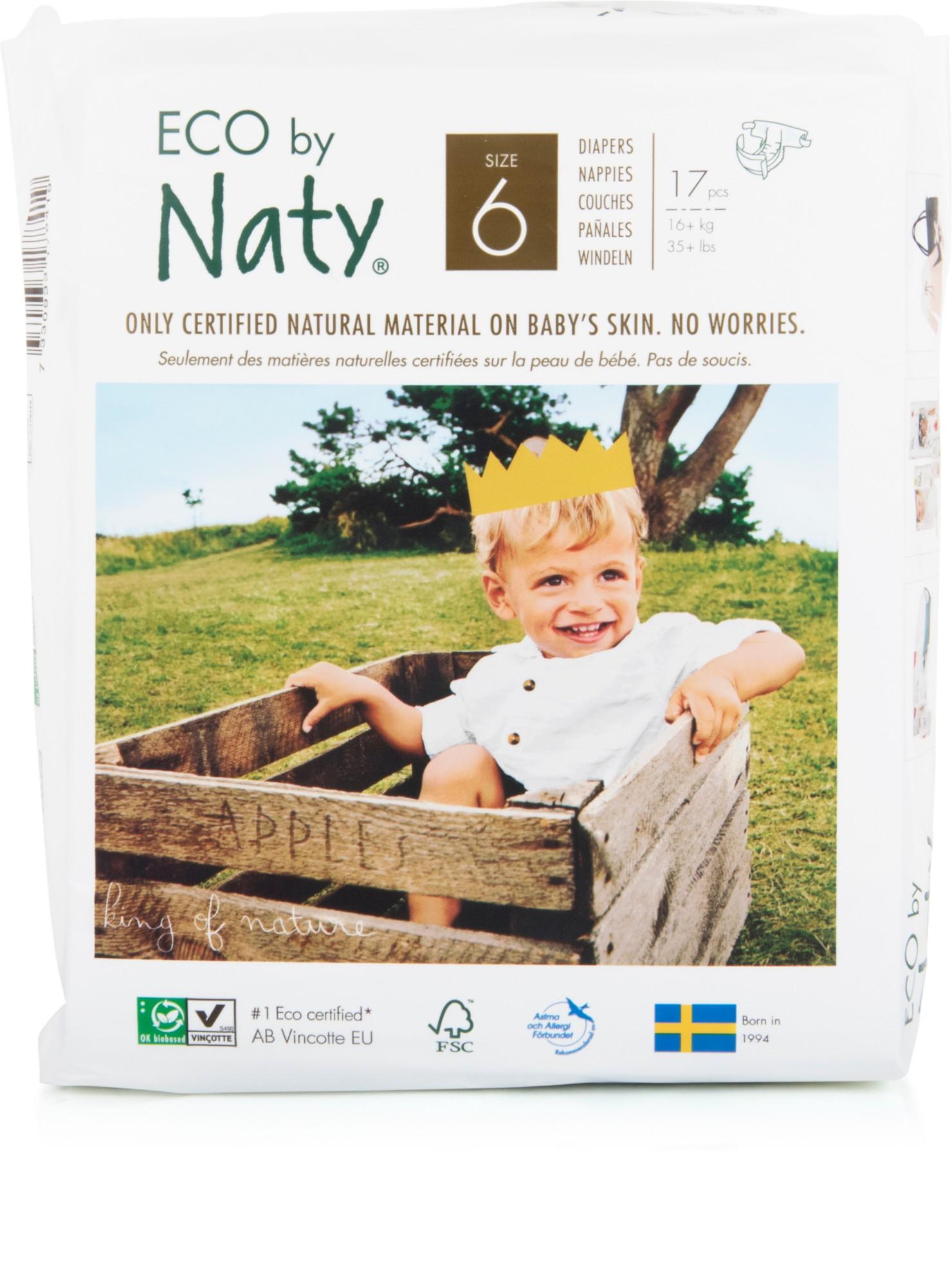 Ekologiškos sauskelnės NATY 6 Extra Large 16+ kg vaikams, 17vnt.