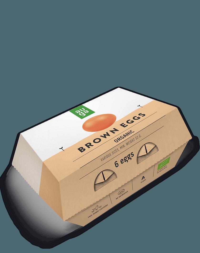 Ekologiški rudi kiaušiniai M/L AUGA, 6vnt