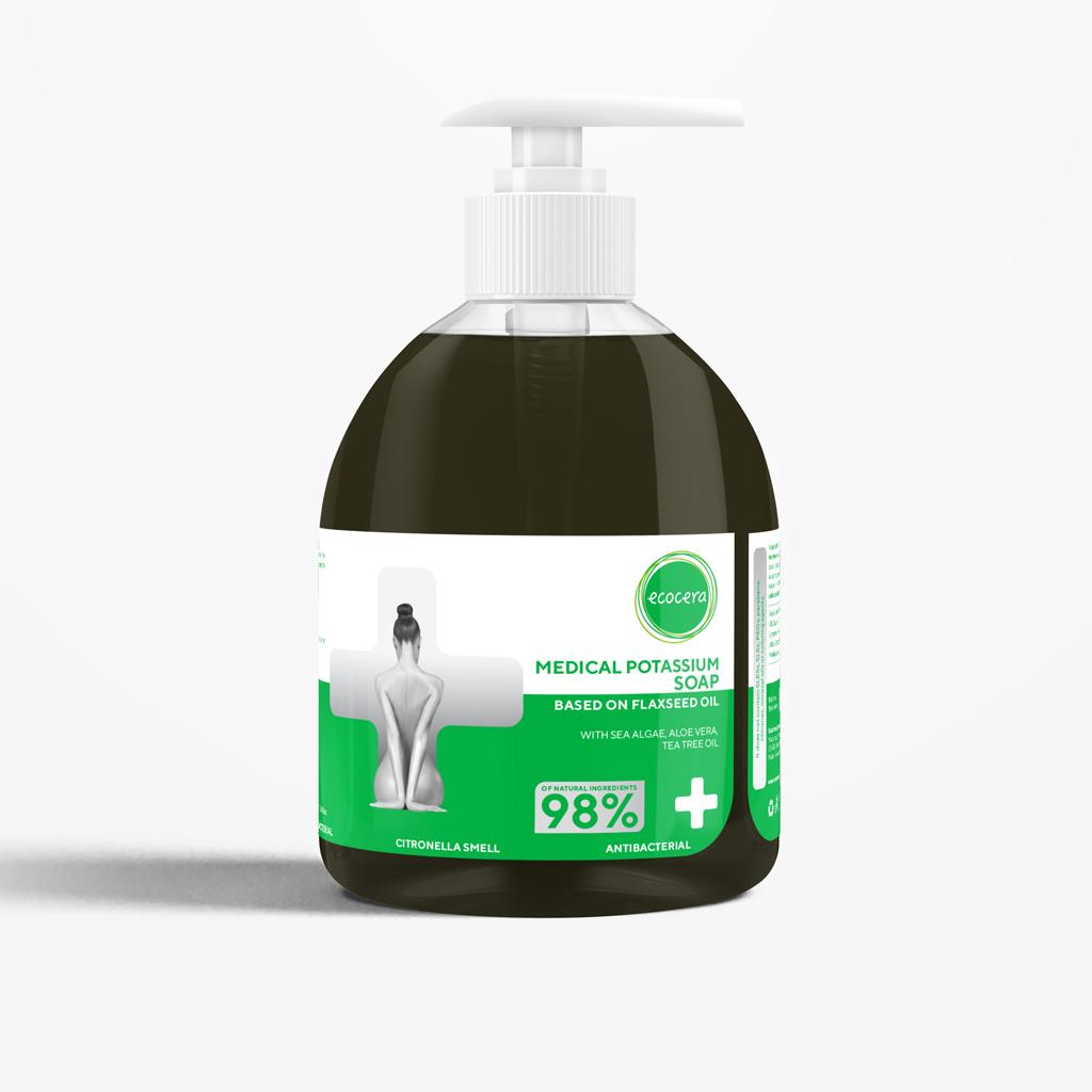 Medicininis antibakterinis kalio muilas ECOCERA su arbatmedžio aliejumi, 300ml