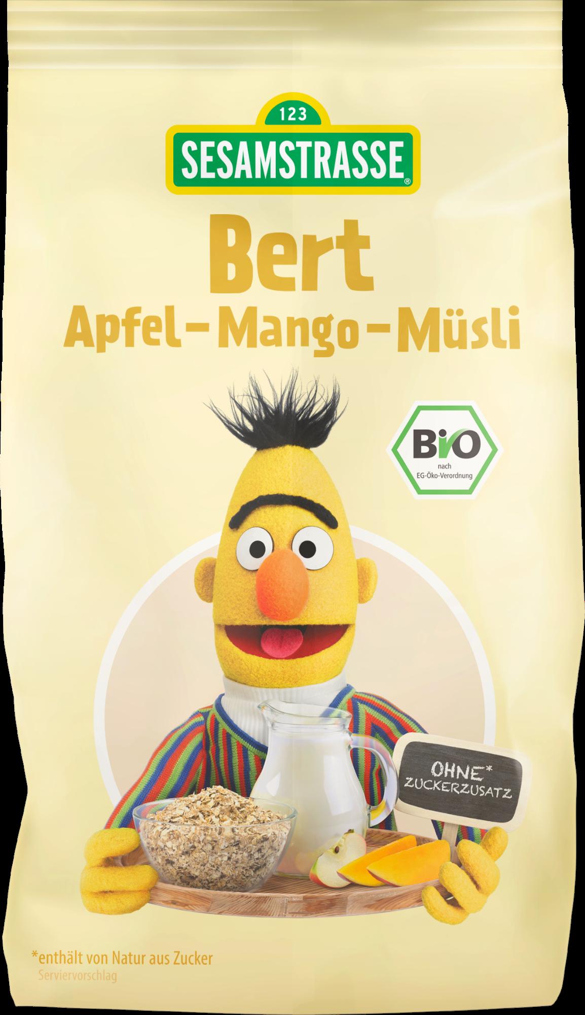 Ekologiški pilno grūdo javų dribsniai su obuoliais ir mangais SESAMSTRASSE Bert, 200 g