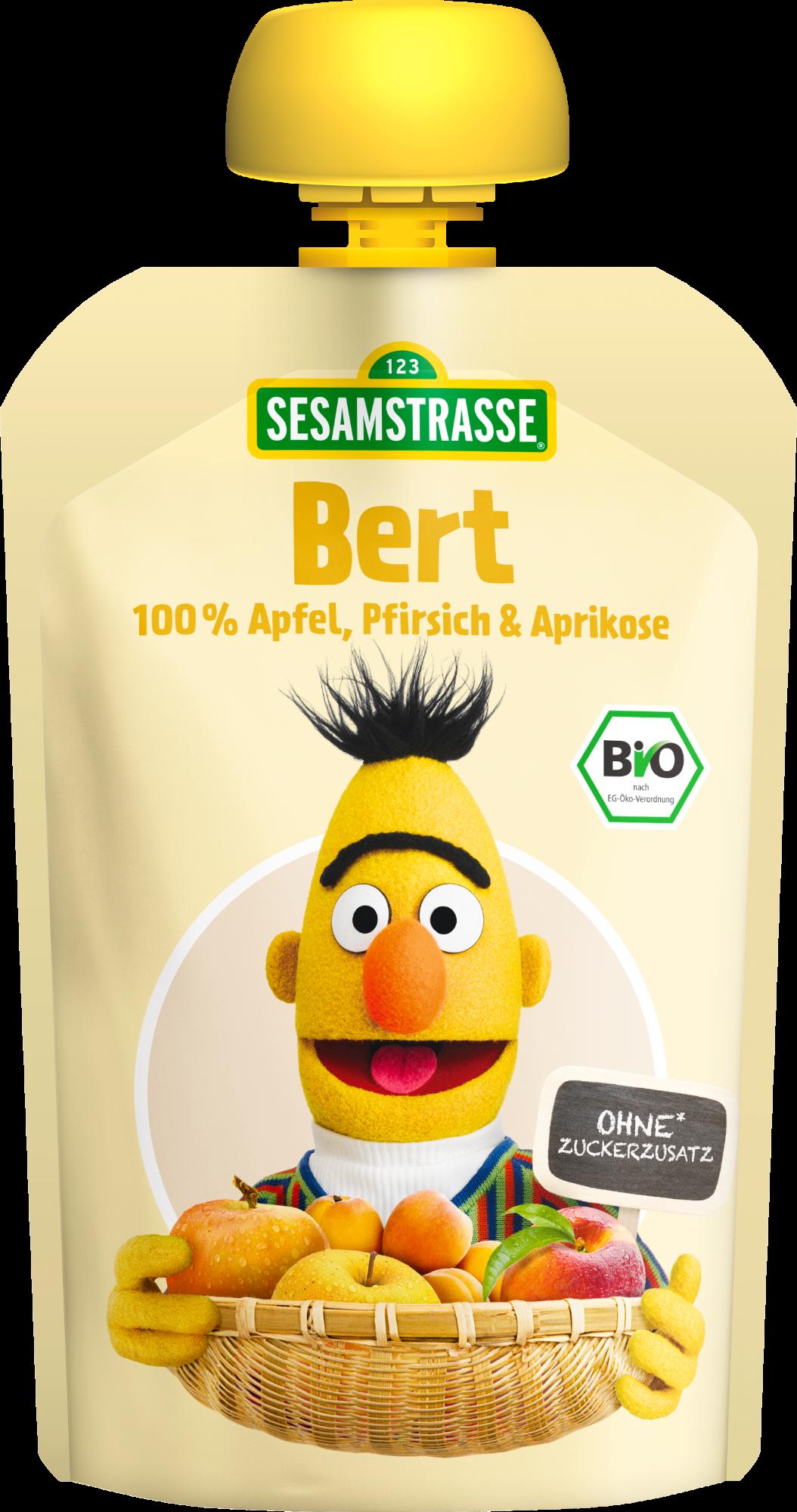 Ekologiška obuolių, persikų ir abrikosų tyrelė SESAMSTRASSE Bert, 100 g