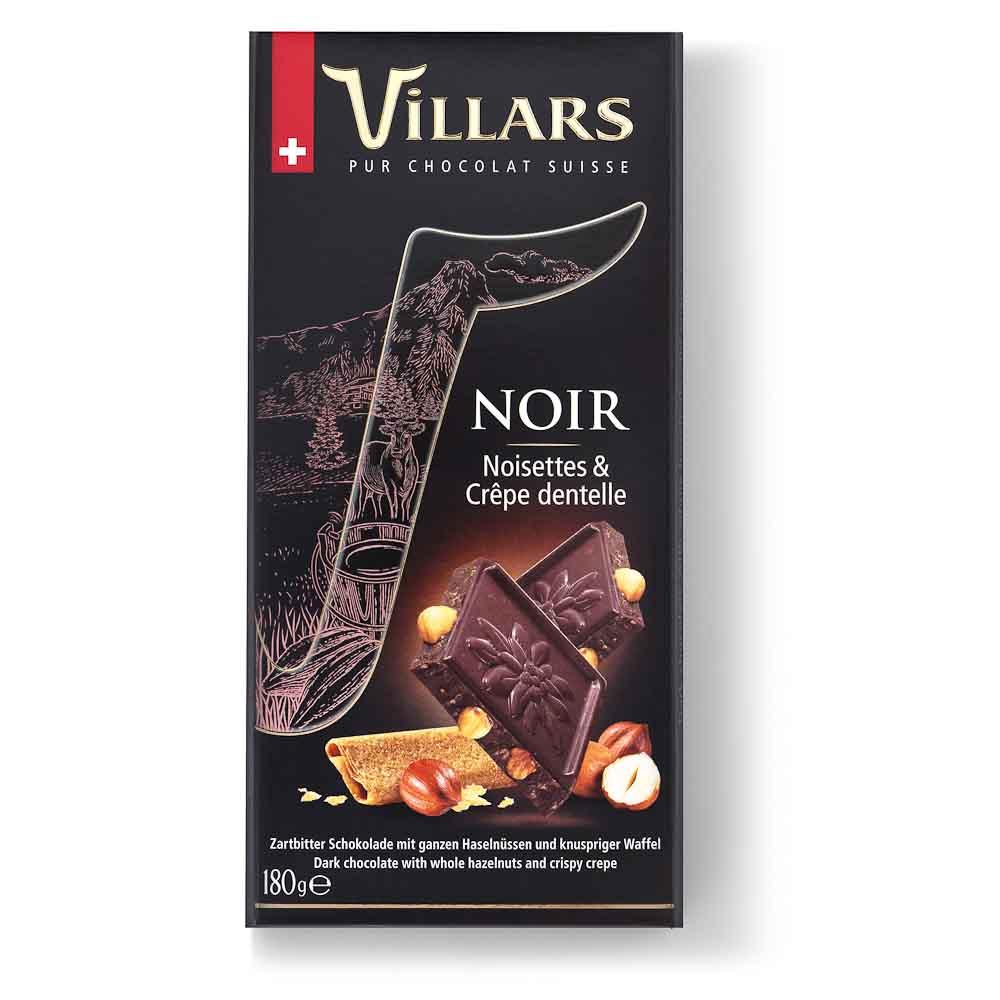 Juodasis šokoladas VILLARS su lazdyno riešutais, 180g