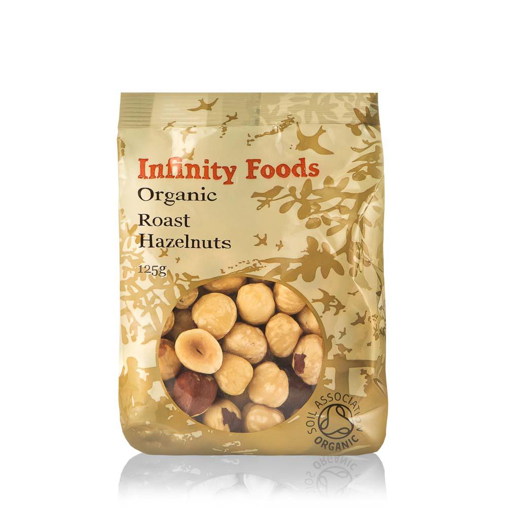 INFINITY FOODS Ekologiški kepinti lazdyno riešutai, 125g