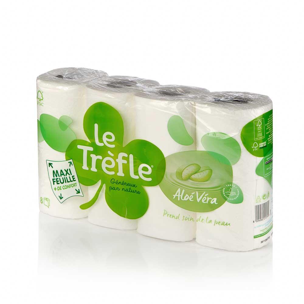 Tualetinis popierius LE TREFLE ALOE VERA (4 sluoksnių), 8 vnt.